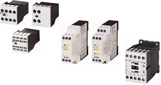 Блоки вспомогательных контактов и контакторы DILA, реле времени ETR