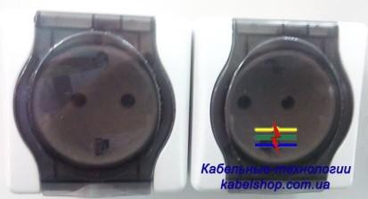 Розетка наружной установки 2-я с з/к с крышкой (УТОС ЖИТОМИР)
