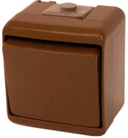 Выключатель 2-клавишный (коричневый) (IP44) VHE-2-KR