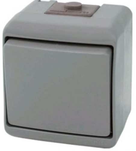 Выключатель 1-клавишный с подсветкой (серый) (IP44) VHE-1L-SR