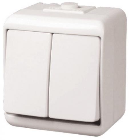Выключатель 2-клавишный с подсветкой (IP44) VHE-2L