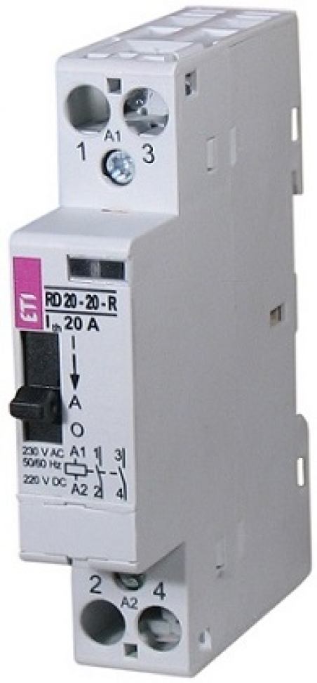 Контактор R 20-02-R 24V AC/DC 20A (AC1) с ручн.управлением
